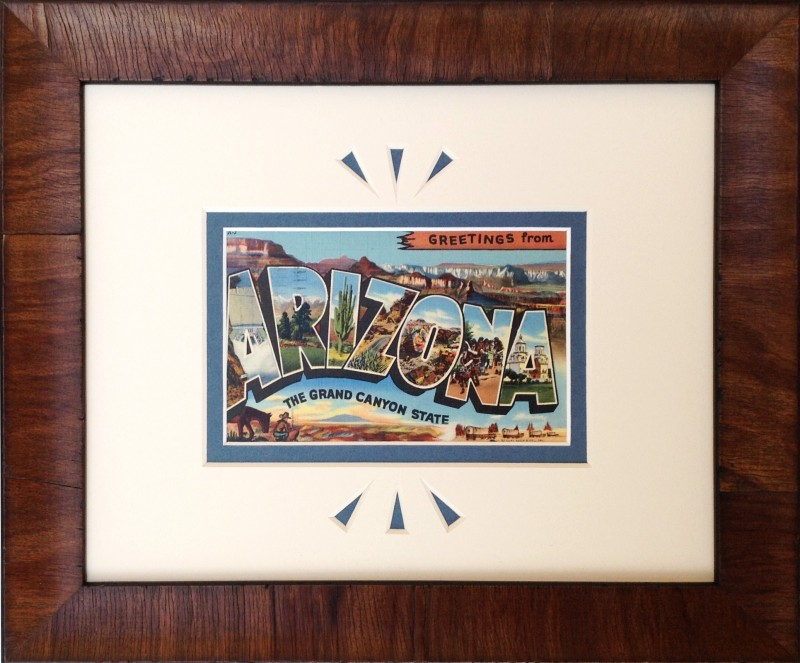 Greetings From Arizona Large Letter card framed