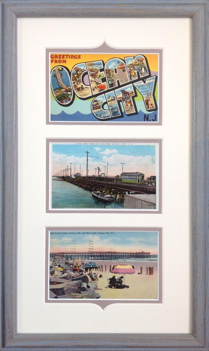 Ocean City Vintage Postcards framed