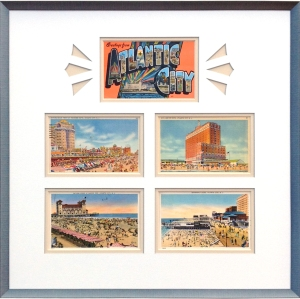 Vintage postcards framed, Atlantic City New Jersey