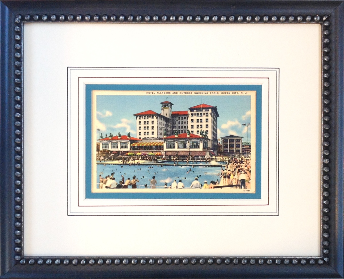French Lines on a custom framed Flanders Ocean City postcard