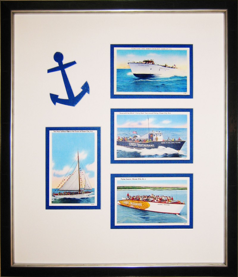 Ocean City, NJ vintage postcards framed
